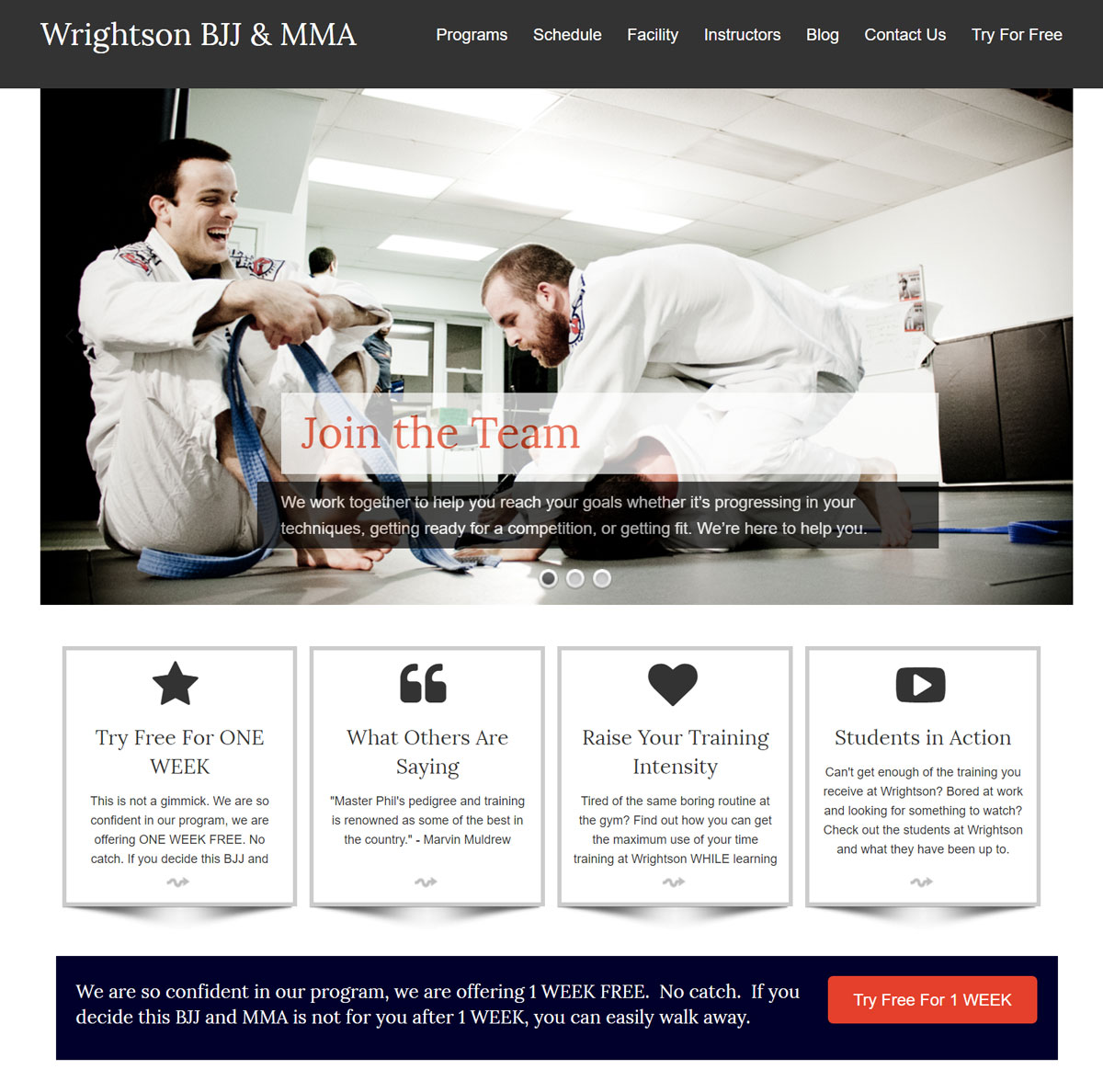 Wrightson BJJ website design and photography
